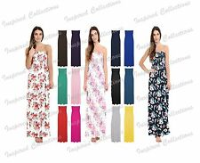 Womens Strapless Maxi Dress Ladies Sheering Floral Boobtube Bandeau Long Maxi
