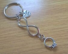 'I Love You' Infinity Charm Keyring with a Engagement/Wedding Ring Charm- Gift
