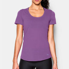 Under Armour Charged Womens Purple Running Short Sleeve T Shirt Tee Top