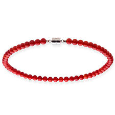 Sterling Silver 8mm Red Coral Bead Necklace (18 - 20 inche)