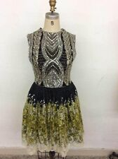 1920s Women's Mini Dress Black Green Gatsby Vintage Sequin Party Gown Size 8-10