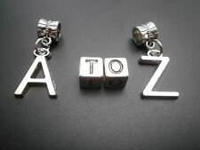 Alphabet letters A-Z spacer - dangle charms beads fit European Tibetan silver
