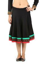 Black-Red-Green Gujarati Embroidered Skirt Ethnic Fashion Dance Skirts