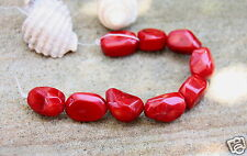 10 Large Rich Red dyed genuine coral nugget freeform beads17/20mmx15/16mm  New
