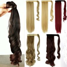 Clip In Hair Extension Wrap Around Clip on Real Ponytail Hairpiece Blonde H101