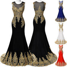 Black Mermaid Long Bridesmaid Lace Formal Evening Dress Cocktail Party Prom Gown