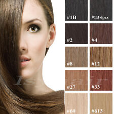 """100%  Top New Full Head 7 pcs Clip in Remy Real Human Hair Extensions 16""""18""""20"""""""
