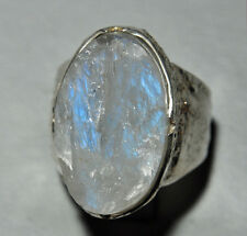 Rugged Blue Moonstone 24 ct Handcrafted Sterling Silver Textured Ring