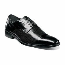Mens Stacy Adams Gatto Leather Sole Cap Toe Lace eelskin Leather Black 25051-001