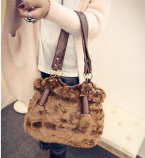 Retro Womens Faux Fur Zip Shoulder Bags Messenger Casual Handbags Tote Purse#385