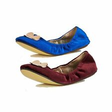 Suedette soft feel flat shoes / pumps with elasticated sides and heart to front