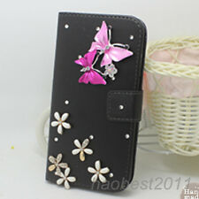 Bling Luxury lover butterflys Diamonds Crystal PU Leather Wallet Cover Case #3
