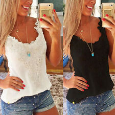 Lady Summer Sexy Slim Vest Shirt Lace Crochet Camisole Tank Top Blouse Oversize