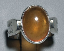 Hessonite Garnet Cabochon Sterling Silver Handcrafted Ring