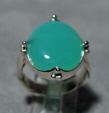 Chrysoprase 14.23ct Cabochon Handcrafted Sterling Silver Ring
