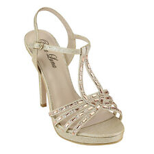 BELLA LUNA GC70 Women's Criss Over Dressy Stilettos Buckled Platform Heels