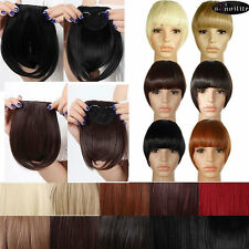 100% Real Clips on Bangs Fring Straight Hair Piece Clip in Hair Extensions B128