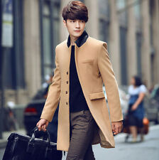 Men's Slim Long Woolen Trench Coat Korean Wind Coat Fashion Jacket Outwear #415