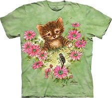 Curious Kitten - Cat Shirt,  Sweet Kitty Cat Among Flowers - Sm - 5X