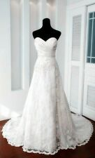New white Satin/lace Bridal Dress wedding dress Gown stock size: 6-8-10-12-14-16