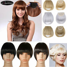 US Lady Clip In Hair Extension Front Hair Bangs Fringes Neat Thick Hairpiece B18