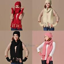 Women Winter Thick Knit Hat Scarf Gloves 3PC Set Outdoor Warm Beanie Cap Scarves