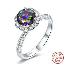 Free Jewelry Box Gifts Rainbow Topaz 100% S925 Sterling Silver Ring Size 6 7 8 9
