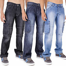 Mens Combats Combat Denim Jeans Black Lightwash Darkwash Yams AD 28-40 42 44 46