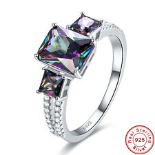Free Jewelry Box Party Rainbow Topaz 100% S925 Sterling Silver Ring Size 6 7 8 9