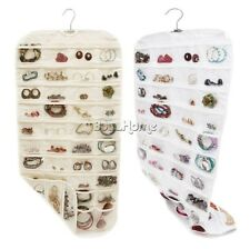 Closet Storage Canvas 80 Pocket Hanging Jewelry&Accessory Organizer Bag 2 Side