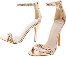 Rose Gold Braided Straps Open Toe Heels, US 5.5 -10