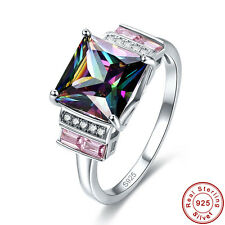 Free Jewelry Box Gift Rainbow & Pink Topaz 925 Sterling Silver Ring Size 6 7 8 9