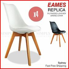 4x Replica Eames Dining Chairs PU Padded Leather White Black Wooden Legs Cafe