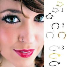 3pcs Mixed Color Stainless Steel Nose Hoop Ring Earrings Body Piercing Jewelry