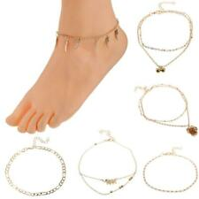 Trendy Womens Gold Charm Ankle Bracelet Anklet With Elephant Flower Charm Dangle
