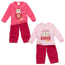 Lullaby Baby Girls I Need Some Sleep Cute Bear Long Sleeve Pyjamas Pink 6-23mths