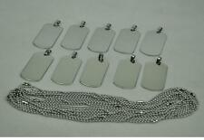 10pcs/lot Titanium Steel Dog Tags Pendants Necklace Metal Bead Chain Silver New