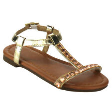JELLY BEANS DC40 Girl T-strap Buckle Closure Rhinestone Deco Flat Ankle Sandals