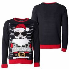 Mens Christmas Sweater Novelty Knitted Black Xmas Jumpers Sizes S -XXL