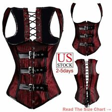 New Lace up Corset Underbust Top Bustier Steampunk belt Black&Red Striped Halter