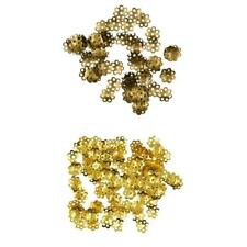 100pcs Alloy Gold Bronze Flower Spacer Jewellery Making beads 8mm
