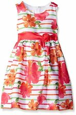 Girls 2T 5T AMERICAN PRINCESS Orange Striped Floral Shantung Formal Party Dress