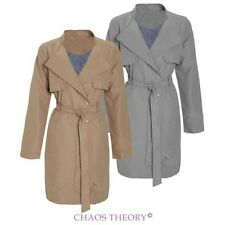 Ladies Womens Mac Microfibre Double Breasted Jacket Trench Tie Belted Coat