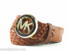 Michael Kors Woven Luggage Brown Genuine Leather MK Logo Belt 551407 NWT Size L