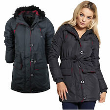 Ladies Winter Coat Brave Soul 'Alcapone' Padded Parka Jacket Fur Hood Sizes 8-16