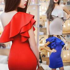 Sexy Women one shoulder lotus sleeve bodycon clubwear party cocktail Short dress
