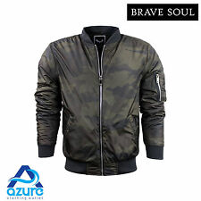 Mens Camo Bomber Jacket by Brave Soul 'Herrera' Padded Lightweight Coat S-XL