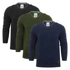 Mens Jumper Brave Soul 'Olga' V Neck Sweater Cotton Knitted Pullover S - XL