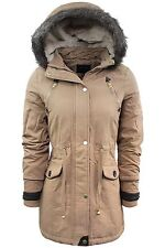 Ladies Winter Coat by Brave Soul 'Gaby' Cotton Parka Jacket Fur Hood Sizes 8-16