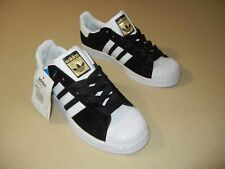 Adidas Superstar W Originals Black Suede w/ White Stripe Athletic Shoes T9576